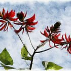 Painted Flowers in Red by CarolM