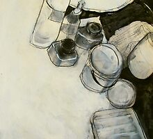 ink and paint still life  by donnamalone