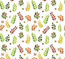 Vector illustration of Autumn leafs pattern by SonneOn