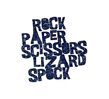 Rock Paper Scissors Lizard Spock Photographic Print