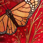 Monarch on Red by Lynnette Shelley