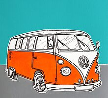 VW Camper Van ( Orange ) by Adam Regester