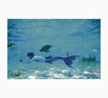 Boy Mermaid Merman Merboy Swimming Under the Sea by fairytaleart
