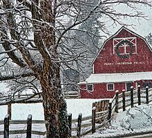 Snowing at the Red Barn by rharrisphotos