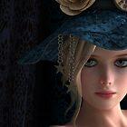 Sweet girl wearing a blue hat by Britta Glodde