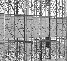 Scaffolding Detail - Black and White by Timothy  Ruf