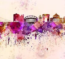 Bucharest skyline in watercolor background by Pablo Romero