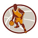 Basketball Player Dribbling Ball Oval Retro by patrimonio