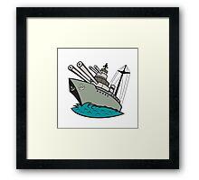 World War Two Battleship Cartoon Framed Print