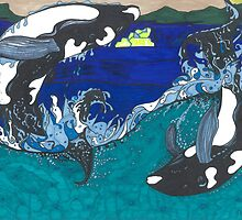 Diving Orcas by TadHuck