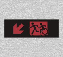 Accessible Means of Egress Icon and Running Man Emergency Exit Sign, Left Hand Diagonally Down Arrow Kids Clothes