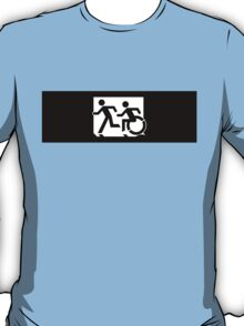 Accessible Means of Egress Icon and Running Man Emergency Exit Sign, Left Hand T-Shirt