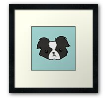 Baby Border Collie (Black on Blue) Framed Print