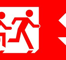 Accessible Means of Egress Icon and Running Man Emergency Exit Sign, Right Hand Diagonally Down Arrow by Egress Group Pty Ltd