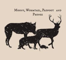 Moony, Wormtail, Padfoot and Prongs by lmentary