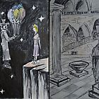 "Ink and Watercolor Sketches - ""The Balloons"" and ""At the Chancellerie"" by Igor Pozdnyakov"