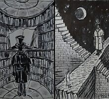 "Ink Sketches - ""The Library"" and ""The Judgement of the Stars"" by Igor Pozdnyakov"