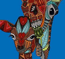 giraffe love blue (card) by Sharon Turner