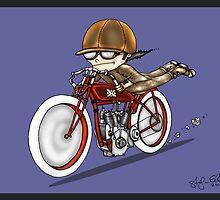 MOTORCYCLE EXCELSIOR STYLE (blue) by squigglemonkey