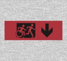 Accessible Means of Egress Icon and Running Man Emergency Exit Sign, Right Hand Down Arrow Kids Clothes
