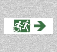 Accessible Means of Egress Icon and Running Man Emergency Exit Sign, Right Hand Arrow Kids Clothes