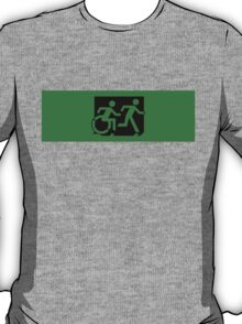 Accessible Means of Egress Icon and Running Man Emergency Exit Sign, Right Hand T-Shirt