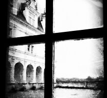 French Chateau through a window. Image manipulated by LLStewart