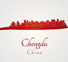 Chengdu skyline in red by paulrommer