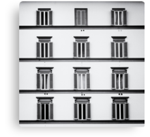 Facade of a Building in Florence ( Firenze ) Black and White Canvas Print