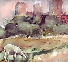 Castle and sheep by peterpeter