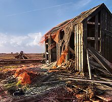 Dungeness Old Abandoned fishing boat and sheds 4 by WillG