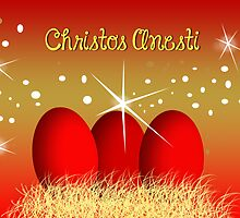 Christos Anesti Red Eggs Greek Easter Card by daphsam