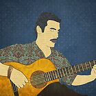 Classical guitar player by Janet Carlson