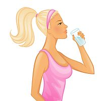 Vector illustration of Young woman drinking water by SonneOn
