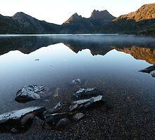 Morning Mist - Dove Lake  by Barbara Burkhardt