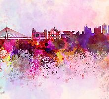Warsaw skyline in watercolor background by paulrommer