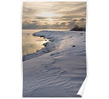 Icy, Snowy Lake Shore Morning Poster