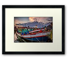 Fishing Boat and Lighthouse Framed Print