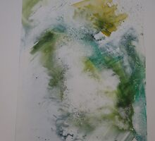 Water colour screen-print of Expanding foam face. by Kathryn Anne Trussler