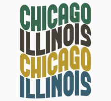 Chicago Illinois Retro Wave by Location Tees