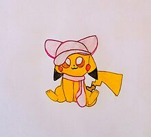 Pikachu dressed up as Mew by Pikaeevee