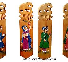 Wooden bookmark figure painted by Rohan Singh