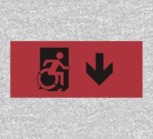 Accessible Means of Egress Icon and Running Man Emergency Exit Sign, Right Hand Down Arrow by LeeWilson