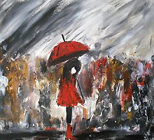 Girl In Red Raincoat Umbrella Rainy Day Acrylic Painting by JamesPeart