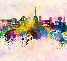 Turin skyline in watercolor background by Pablo Romero