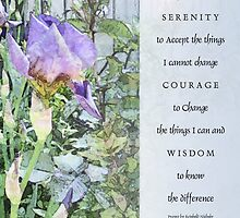 Serenity Prayer Irises and Fence Light Blue by serenitygifts