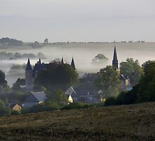 Village in the fog by hermy21