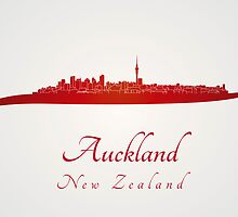 Auckland skyline in red by Pablo Romero