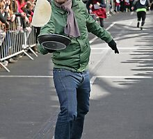 Andy Barnes at  Pancake Race by Keith Larby