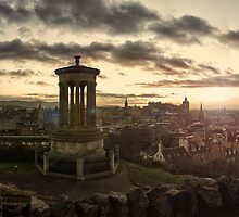 Panoramic Sunset Over Edinburgh, Scotland by Miles Gray